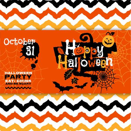 Halloween background of cheerful pumpkins. Vector