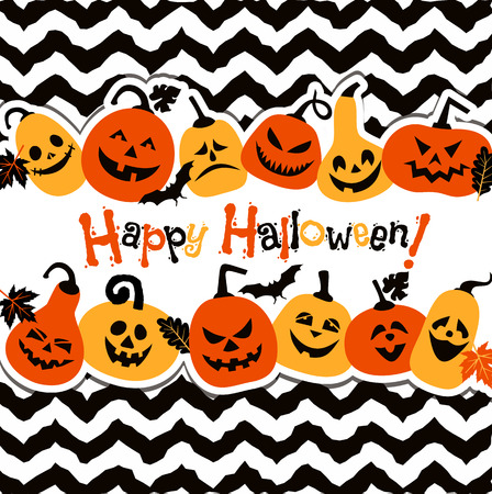 Halloween background of cheerful pumpkins. Vector