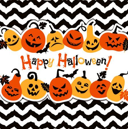 halloween bat: Halloween background of cheerful pumpkins.
