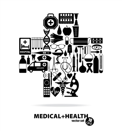 apothecary: Medical set. Cross illustration. Illustration