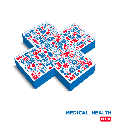 cross street with care: Medical icon background Illustration
