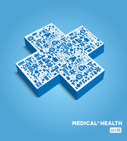 3d cross. Medical illustration. Vector
