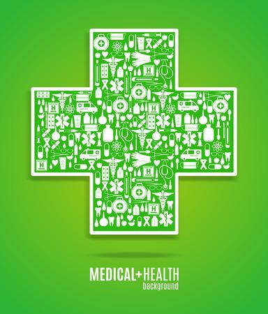 pharmacy store: Medical icon background. Cross set.