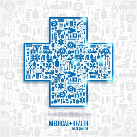 therapist: Medical icon background. Cross set.