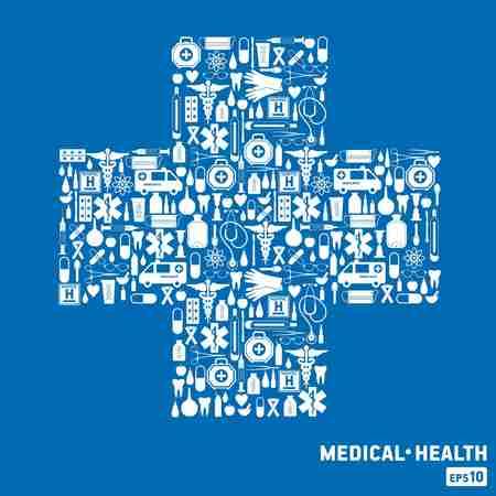 Medische pictogram achtergrond. Kruis set.