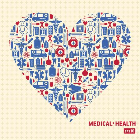 Medical vector background heart. Illustration
