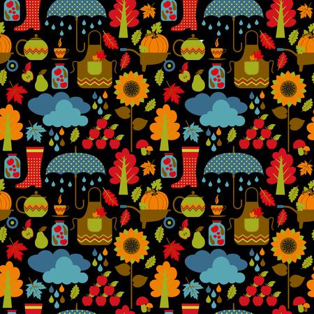 kinder: Autumn seamless pattern.