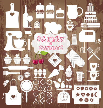 Bakery icons set. Vector elements for your design. Vector