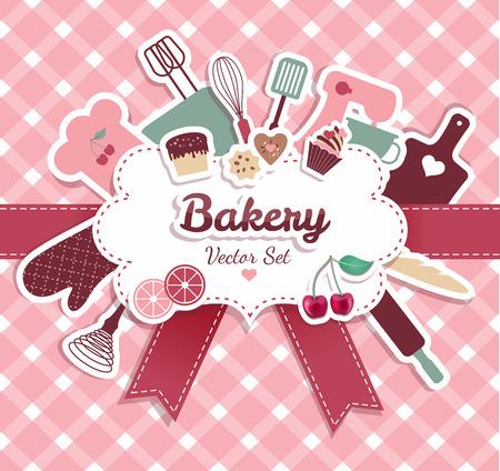 パンやお菓子の抽象的なイラスト。  イラスト・ベクター素材