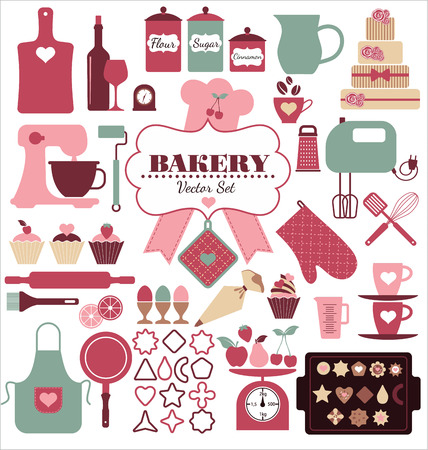baking bread: Bakery icons set. Vector elements for your design.