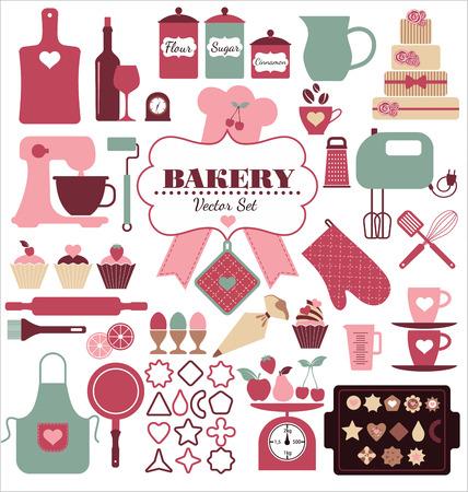 mandil: Iconos Panadería establecen. Elementos del vector para su diseño. Vectores
