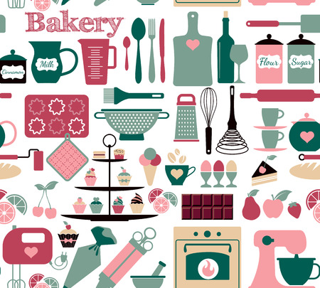 Seamless pattern of bakery and sweets Vector