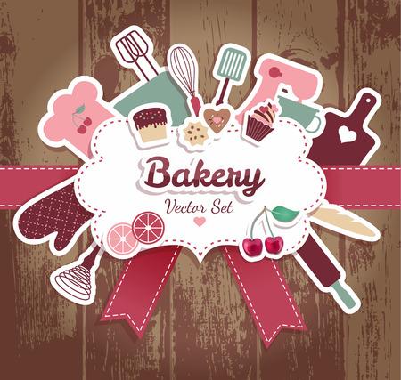 Ilustração abstrata da padaria e dos doces. Foto de archivo - 32203256