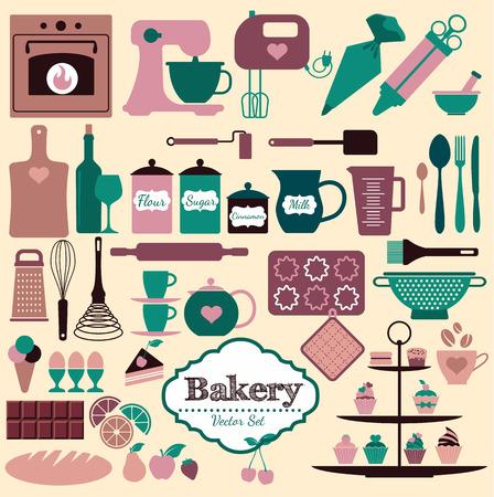 kitchen utensils: Iconos Panader�a establecen. Elementos del vector para su dise�o. Vectores
