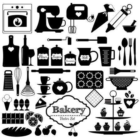 drink tools: Bakery icons set. Vector elements for your design.