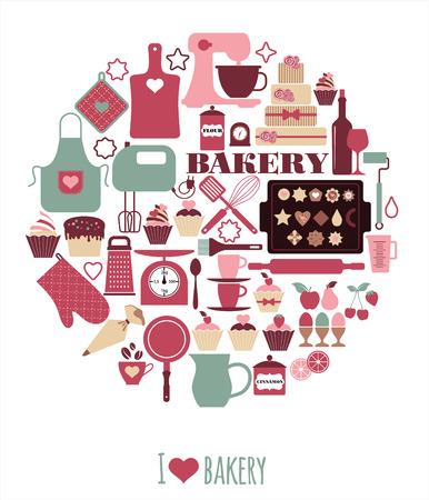 Bäckerei Symbole gesetzt. Vektorelemente für Ihr Design.