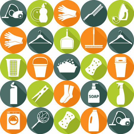 clean kitchen: Clean seamless pattern. Cleans icon set.