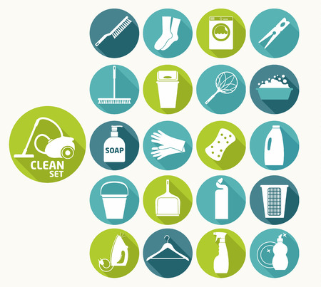 chemical cleaning: Clean flat icons Illustration