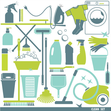 vacuum cleaner: Clean set background. Illustration