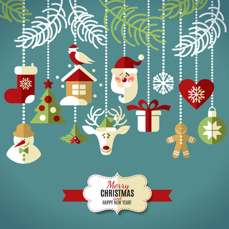Christmas design icons set. Vector background. Vector