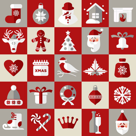 christmas time: Christmas design icons set. Vector background.Seamless pattern og christmas decoration.