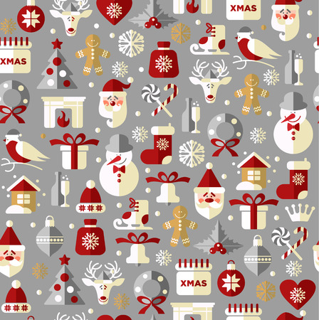 Seamless christmas pattern. Vector background. Vector