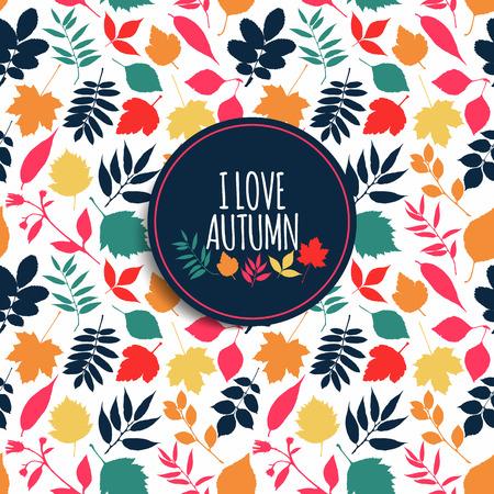 leaves green: Autumn seamless pattern.