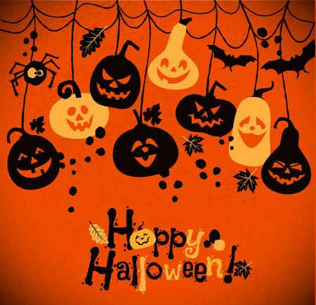 cartoon bat: Halloween background of cheerful pumpkins.