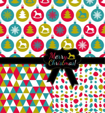christmas baby: Balls christmas pattern. Seamless set. Xmas texture. Illustration