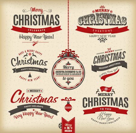 traditional background: Christmas and happy new year letteting.Type composition.
