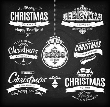 merry christmas text: Christmas and happy new year letteting.Type composition. Chalk board. Illustration