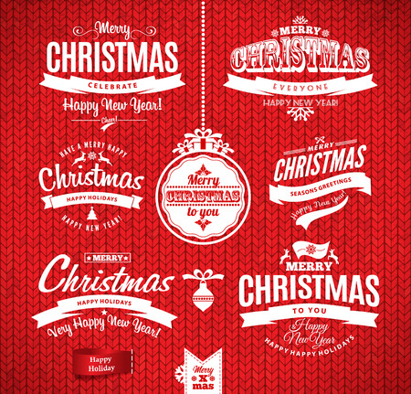 Christmas and happy new year lettering.Type composition. Seamless knitting pattern. Vector