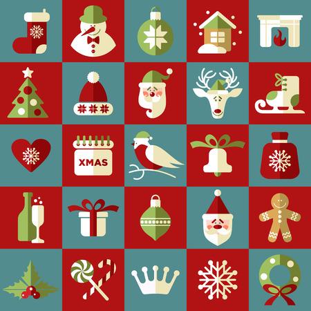 corona navidad: Ilustraci�n de la Navidad. Vector conjunto de iconos.