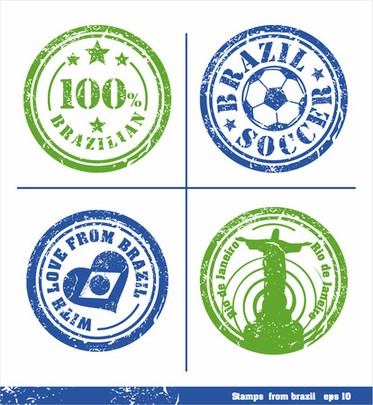 Set of stamps from Brazil. Vector elements for yours design. Vector