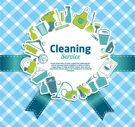 ware house: Cleaning service illustration.