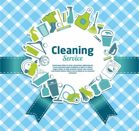 cocina limpieza: Limpieza ilustraci�n servicio. Vectores