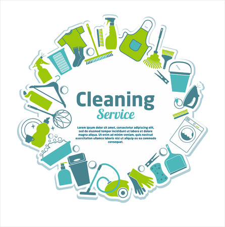uso domestico: Servizio di pulizia illustrazione. Vettoriali