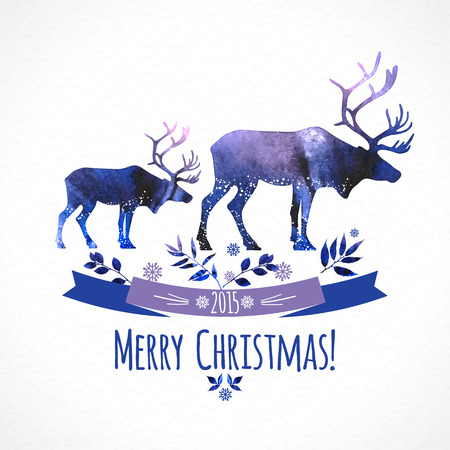 horny: Deers christmas illustration. watercolor card. Illustration