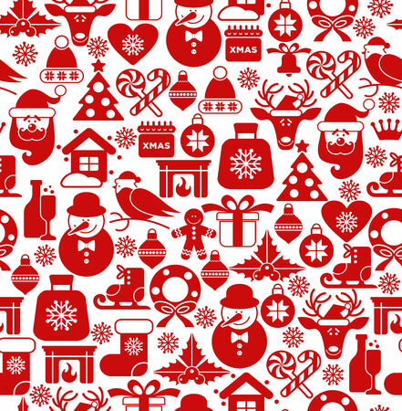 Christmas seamless pattern of icons. Vector