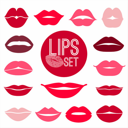 red lips: Lips set. design element. Illustration