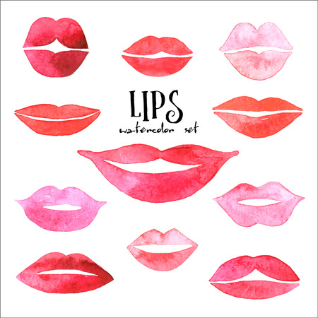 Watercolor lips set.
