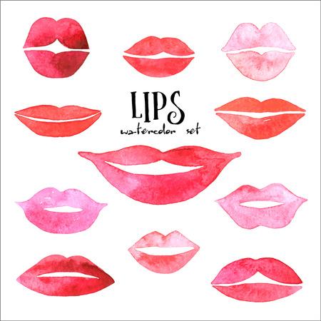beso labios: Labios acuarela fijadas. Vectores