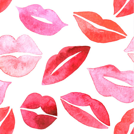Watercolor lips seamless pattern.