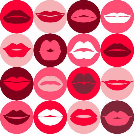 bacio: Design piatto di labbra. Seamless pattern di icona. Vettoriali