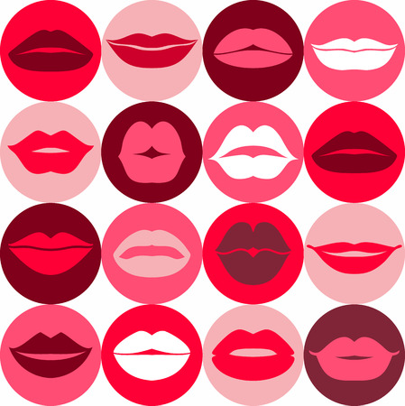 beso labios: Diseño plano de los labios. Modelo inconsútil de los iconos. Vectores