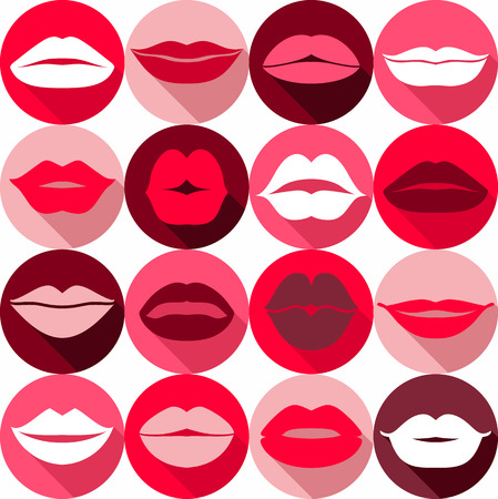red lip: Flat design of lips. Seamless pattern of icon.