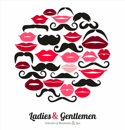 hair mask: Collection of moustaches and lips