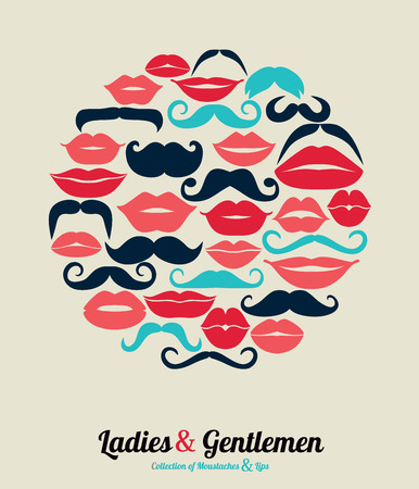 cartoon kiss: Ledies and Gentlemen set background. Illustration