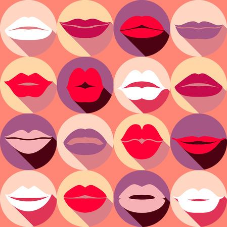 labios sensuales: Diseño plano de los labios. Modelo inconsútil de los iconos. Vectores