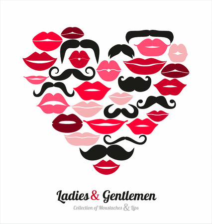 lipstick kiss: Collection of moustaches and lips